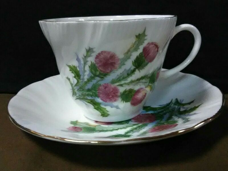 Elegant Vtg.Hampshire Hall England Embossed Fluted Pink Thistle Tea Cup/Saucer