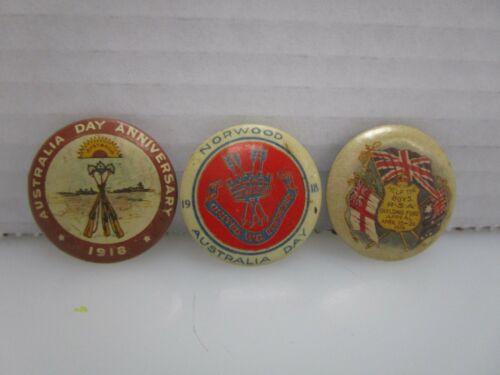 Lot of 3 Antique World War 1 WWI Era Australian Pin Back Buttons (BY)