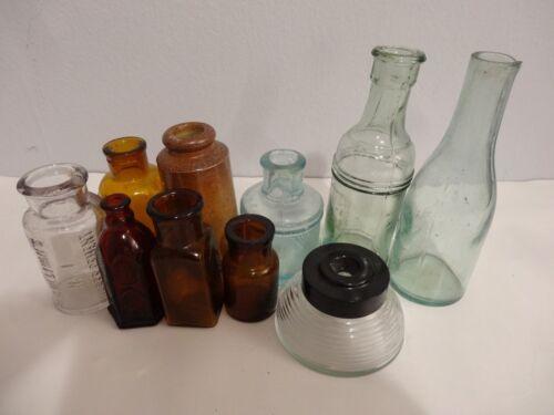 LOT OF VINTAGE EMPTY INK GLASS BOTTLES HYDE LONDON O