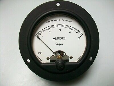 Nos Simpson 0-5 A. Ac. Panel Meter 3 12 Round