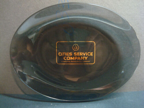 Cities Service Natural Resource Company Gas Oil Smoke Gray Gold Glass Tray Dish
