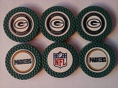 Green Bay Packers, Lot Of 6 Poker Chip Double-Sided Ball Marker, Tm Golf, 1st Ed