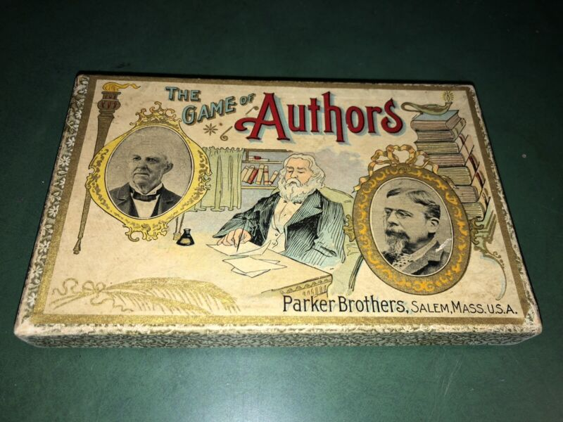 Vintage Rare Game of AUTHORS Card Parker Brothers Salem Mass 1800's Complete