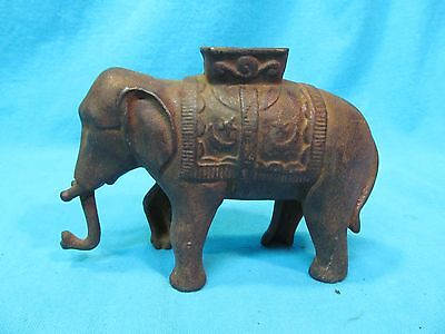 1910's A C WILLIAMS CAST IRON ELEPHANT BANK WITH SWIVEL TRUNK & HOWDAH