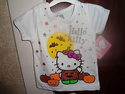 Hello Kitty Halloween T Shirt (Hello Kitty Halloween Sparkles White Short Sleeve T-shirt Girls Size)