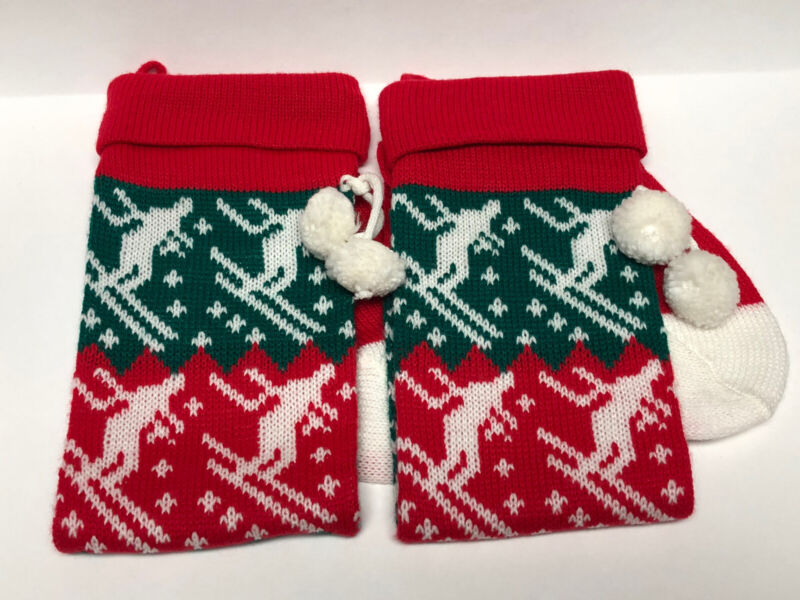 "Vintage Lot Of 2 Knitted Yarn Christmas Stockings Skiers Skiing 26"""