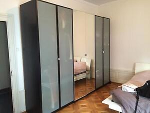 Stunning Dark Frosted Glass Doors Large Ikea Pax Wardrobe 3 Avail Parkville Melbourne City Preview