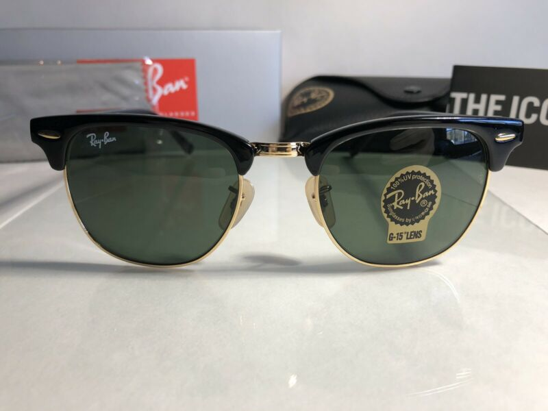 Ray-Ban Clubmaster Sunglasses RB3016 901/58 51mm Black/Green Lenses