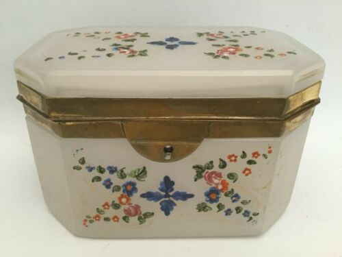 Antique White Opaline Hinged Box  ~ Lovely Flowers and Leaves