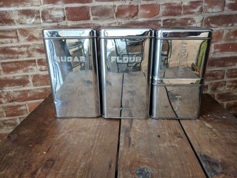 Vintage LINCOLN Beauty Ware Chrome Stacking Canisters Set of 4 Retro 1960's
