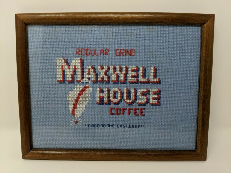 Maxwell House Vintage Knitted Coffee Bar Sign Decor Rustic Needlepoint