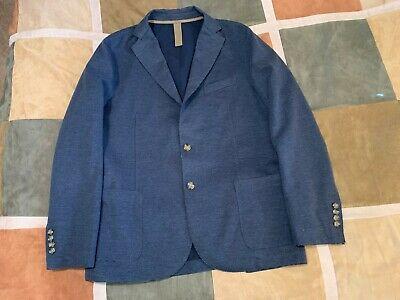 Eleventy blue cotton blend summer blazer sport coat 52 42 mens NEW made in italy