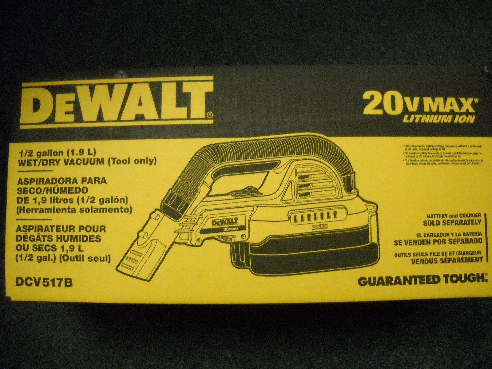DeWALT DCV517B 20-Volt 1/2-Gallon Wet/Dry Portable Cordless