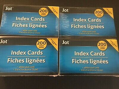 Jot Index Card- Office Supply- Lot Of 4- White Rules Cards-200 Per Pack- New