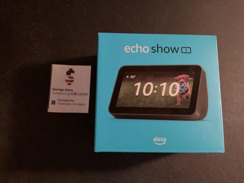 Amazon Echo Show 5 2nd Gen Smart Display Alexa   2021 Edition Charcoal Black