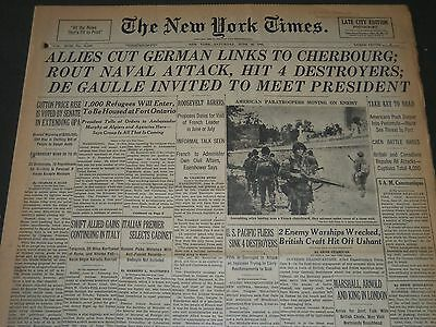 1944 JUNE 10 NEW YORK TIMES - ALLIES CUT GERMAN LINKS TO CHERBOURG - NT 5515