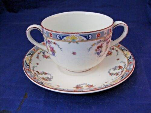 ANTIQUE TWO HANDLED TEA CUP AND SAUCER J & G MEAKIN - ENGLAND