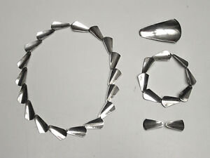 Vintage-Arne-Johansen-Danish-modernist-mod-jewelry-set-5-pieces-sterling-silver