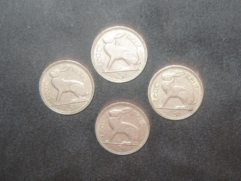 Lot Of 4 Vintage Silver Tone Irish Celtic Ireland Rabbit/Harp 3 Pence Coin Coins