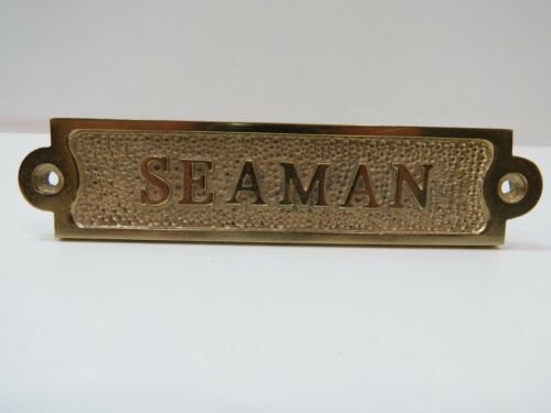"""1+1/4 x 5+1/2 Inch Aluminum Plated With Brass """"SEAMAN"""" Sign -(B5C293)"""