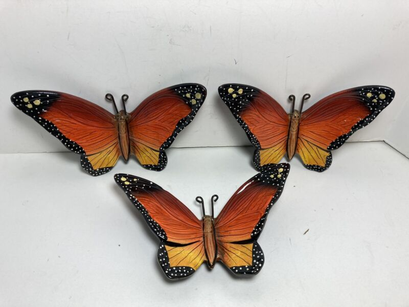 """Set Of 3 Hand Painted Ceramic Butterfly Monarch 6.25"""" Wall Decor Mexico"""