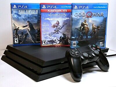 Sony Playstation 4 PS4 Pro 1TB (CUH-7115B) + DualShock 4 Controller & 3 Games