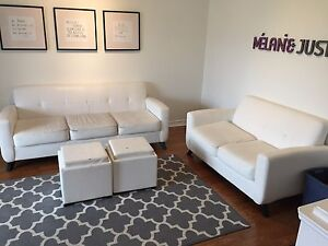 3 piece white leather couch, love seat and chair