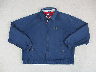 VINTAGE Tommy Hilfiger Jacket Adult Large Blue Yellow Full Zip Crest Coat 90s*