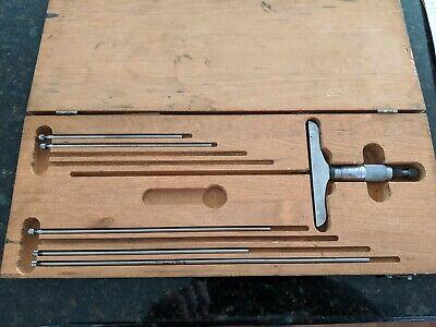 Starrett No.445 Depth Micrometer Caliper Set Wrods In Wood Case