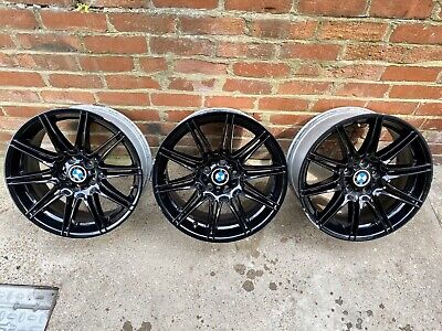 "Genuine 3 x BMW 19"" MV4 Alloy Wheels Gloss Black 225M E90 E91 E92 E93 8J 9J"