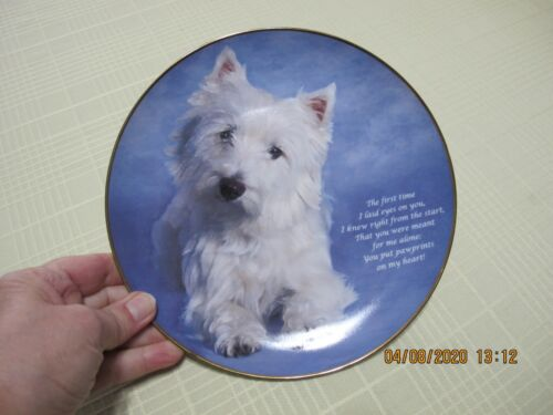Danbury Mint Beloved Westies Plate PAWPRINTS ON MY HEART Limited Edition Plate
