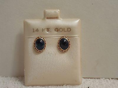 Vintage 14K Yellow Gold Cabochon Cut Lapis Stud Earrings