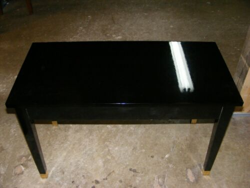 Pol Ebony hardtop Piano Bench With Straight LEGS and Brass ferrules