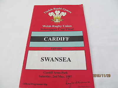 Schweppes Cup Final 1987. Cardiff v Swansea.Rugby Union.