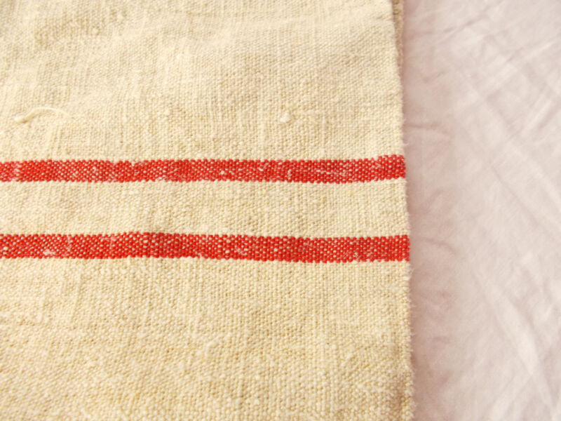 A+ Vtg Antique RED STRIPE HEMP LINEN King Pillowcase FEED SACK GRAIN BAG 23X33