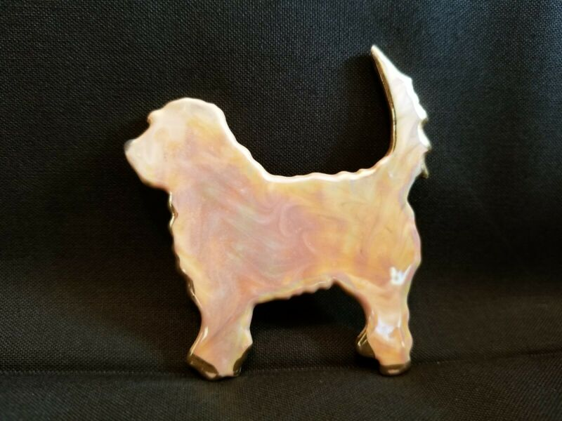 Otterhound Otter Hound Bisque Pin Brooch Handcrafted Signed 1996 RARE!