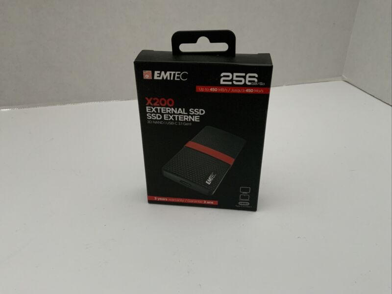 NEW Emtec X200 256GB External (ECSSD256GX200) SSD USB-C SEALED *Free Shipping*