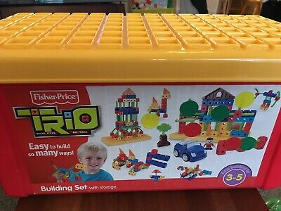 Fisher Price Trio Building Set Bricks Blocks Sticks Panels Storage Box 100 piece