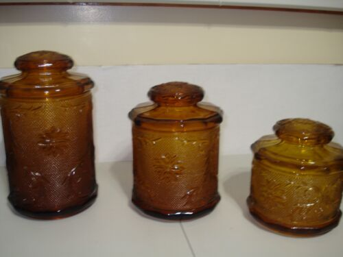 vintage indiana glass tiara amber sandwich 3 piece kitchen canisters