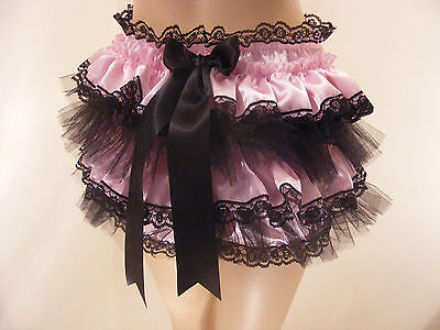 ADULT BABY SISSY PINK/BLK SATIN FRILLY DIAPER COVER PANTIES FANCYDRESS (Pink Slip Kostüm)
