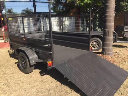 8X5 HI SIDE HEAVY DUTY WITH RAMP & 600MM CAGE FITTED ONLY $1990