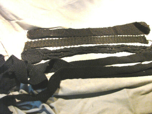 Vintage Antique BLACK Belt TRim LOT yardage Dress Cording Victorian