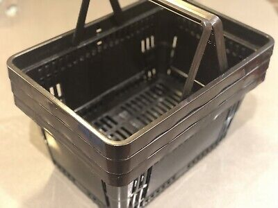 Set Of Three 3x Plastic Grocery Convenience Store Shopping Retail Basket Black