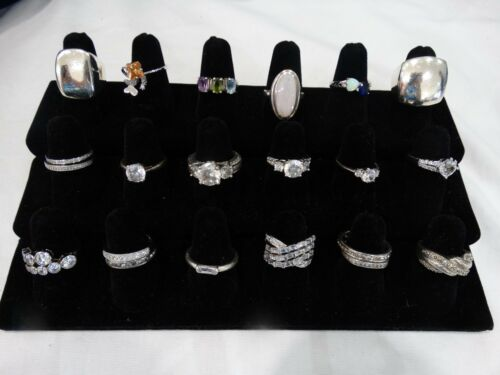 VINTAGE LOT OF 21 STERLING SILVER RINGS READY  TO SHIP