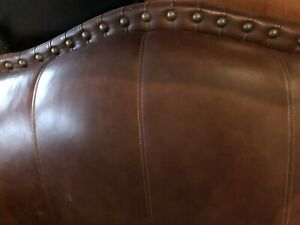 STUDDED 2 SEATER LEATHER COUCH