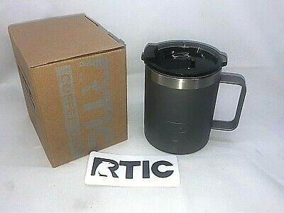 RTIC 12oz Coffee Steel Cup Graphite Vacuum Insulated With Spill Proof Lid / -