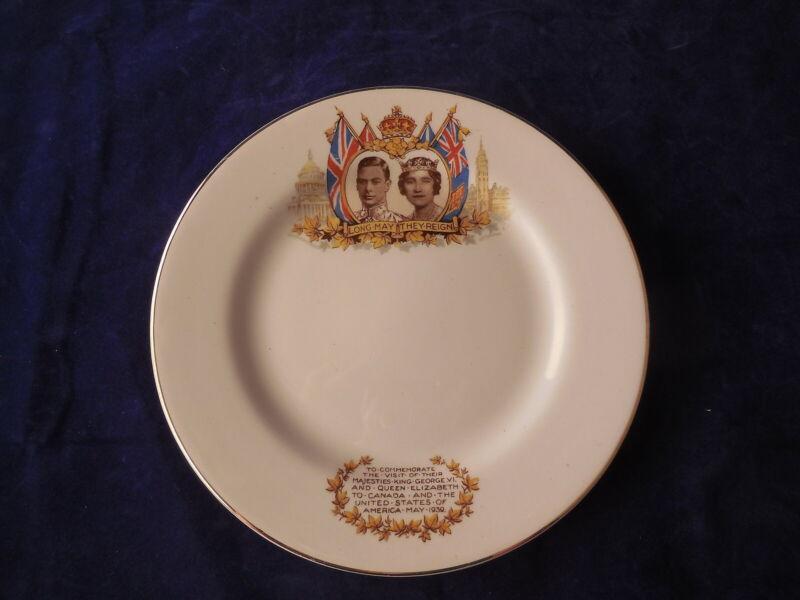 Commemorative Plate King George VI Elizabeth 1939 Visit Canada & USA Nelson Ware