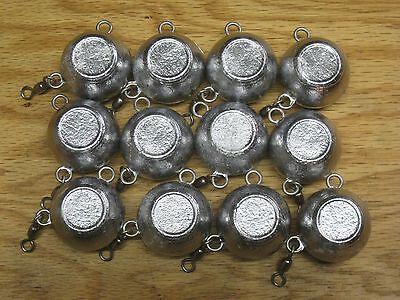 12 pack 8oz fluke ball no  finish fishing lure jigs 1/0 rosco swivel no hook   ()