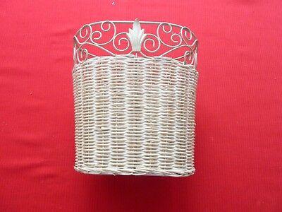 White Metal & Wicker Waste Basket Trash Can Small Decorative Bathroom - Decorative Metal Waste Basket