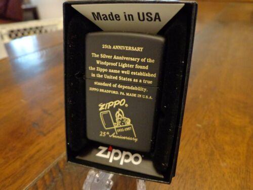 ZIPPO 25TH ANNIVERSARY ENGRAVED BLACK MATTE ZIPPO LIGHTER MINT IN BOX